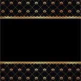 Fondo nero dell'annata con la struttura degli elementi dorati per testo Fotografia Stock