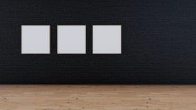 Fondo nero dell'interno del mattone illustrazione di stock