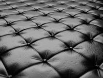 Fondo nero della tappezzeria del cuoio genuino Fotografie Stock Libere da Diritti