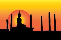 Fondo nero di giallo della statua di Buddha Fotografie Stock