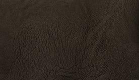 Fondo nero di texsture del cuoio genuino con la superficie del grano Fotografie Stock