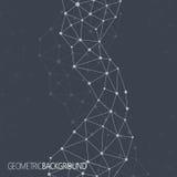 Fondo nero geometrico Molecola e fondo di comunicazione Fondo grafico per la vostra progettazione ed il vostro testo Fotografia Stock