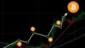 Fondo nero isolato bastone della candela del grafico di Bitcoin Fotografia Stock Libera da Diritti
