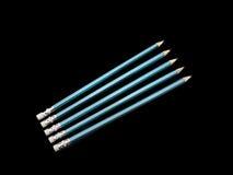 Fondo nero isolato Blue Pencils cinque Immagini Stock