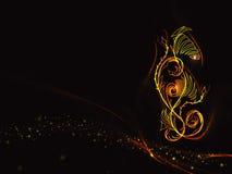 Fondo nero nei colori della fiamma con l'ornamento floreale e linee e stelle astratti dell'oro Fotografie Stock
