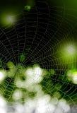 fondo Nero verde con le gocce di acqua su un web