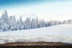 Fondo nevoso del invierno con los tablones de madera Fotos de archivo libres de regalías
