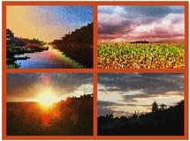 Fondo nostalgico di autunno al tramonto ed all'alba Immagine Stock Libera da Diritti