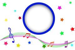 Fondo, nota musical en la línea de la onda Foto de archivo libre de regalías
