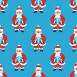 Fondo, nuovo anno dell'insegna o Natale senza cuciture Santa Claus con i vetri e barba che tiene un regalo Progettazione piana mo Fotografia Stock Libera da Diritti