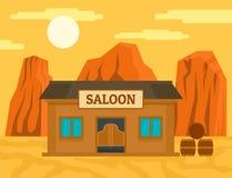 Fondo occidental americano del concepto del salón, estilo plano ilustración del vector