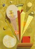 Fondo ocraceo giallo astratto, ispirato dal kandinskij del pittore Fotografia Stock