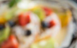 Fondo offuscante di Kiwi Blueberry Fruity Waffle Dessert della fragola di stile per progettazione 2 immagine stock libera da diritti