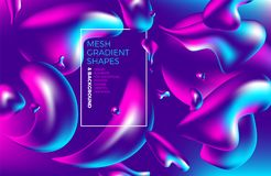 Fondo olografico di pendenza 3D di vettore astratto multicolore del fondo con le figure e gli oggetti per il web, imballanti, man Fotografie Stock