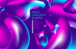 Fondo olografico di pendenza 3D di vettore astratto multicolore del fondo con le figure e gli oggetti per il web, imballanti, man Immagini Stock