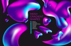 Fondo olografico di pendenza 3D di vettore astratto multicolore del fondo con le figure e gli oggetti per il web, imballanti, man illustrazione vettoriale