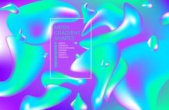 Fondo olografico di pendenza 3D di vettore astratto multicolore del fondo con le figure e gli oggetti per il web, imballanti, man illustrazione di stock