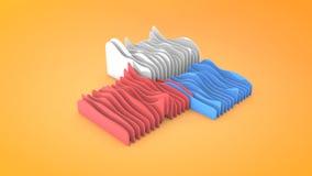 Fondo ondulato astratto di forme, rappresentazione 3D illustrazione di stock