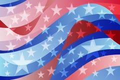 Fondo ondulato della bandiera americana astratta Fotografie Stock Libere da Diritti