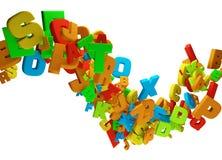 Fondo ondulato di flusso delle lettere variopinte astratte illustrazione di stock