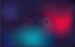 Fondo ondulato e geometrico, pendenza moderna, forma curva, nelle tonalità blu e rosse La copertura del nuovo anno per un sito illustrazione di stock