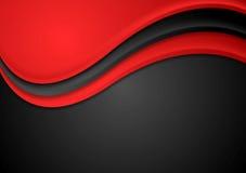 Fondo ondulato rosso e nero astratto Fotografia Stock Libera da Diritti