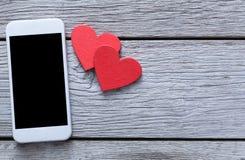 Fondo online del collegamento di giorno di S. Valentino con lo spazio della copia Fotografia Stock Libera da Diritti