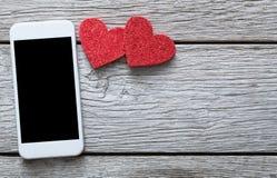Fondo online del collegamento di giorno di S. Valentino con lo spazio della copia Immagini Stock Libere da Diritti