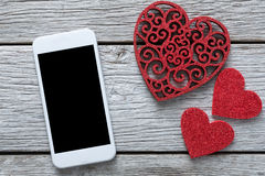 Fondo online di acquisto di giorno di S. Valentino con lo spazio della copia Fotografia Stock