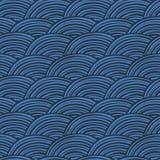 Fondo orientale disegnato a mano dell'ornamento Modello senza cuciture delle nuvole blu delle tonalità Geometrico astratto Squama illustrazione vettoriale