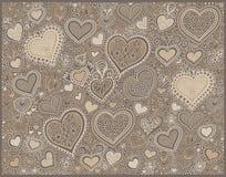 Fondo original de la forma del corazón del dibujo de la mano stock de ilustración