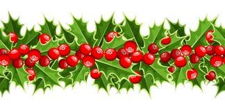 Fondo orizzontale con l'agrifoglio di Natale. Fotografia Stock Libera da Diritti