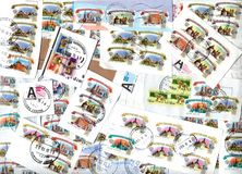 Fondo orizzontale dei francobolli russi Fotografie Stock