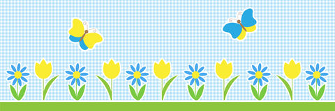 Fondo orizzontale di vettore con le farfalle ed i fiori Immagine Stock Libera da Diritti