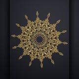 Fondo ornamental de lujo del diseño de la mandala del vector en color oro Vector oriental, modelos antiesfuerzos de la terapia Di libre illustration