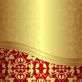 Fondo ornamental de oro de lujo con la frontera roja. Imagen de archivo libre de regalías