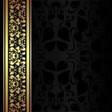 Fondo ornamental del carbón de leña con la frontera de oro. Fotografía de archivo libre de regalías