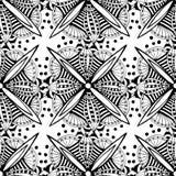 Fondo ornamental del vector con las flores del gráfico del garabato Modelo inconsútil étnico blanco y negro para la tela, envolvi ilustración del vector