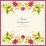 Fondo ornamental floral en orzuelo de la vendimia Imagen de archivo