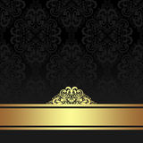 Fondo ornamental negro del damasco con la cinta de oro Foto de archivo libre de regalías