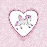 Fondo ornamentale rosa con l'unicorno felice per l'album per ritagli Fotografia Stock