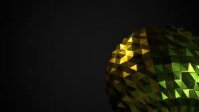 Fondo oscuro con forma brillante abstracta como bola polivinílica baja stock de ilustración