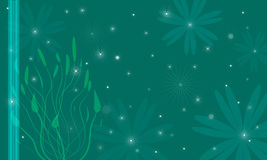 Fondo oscuro con las estrellas y las flores Foto de archivo libre de regalías
