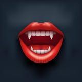 Fondo oscuro de la boca del vampiro con los labios abiertos Imagenes de archivo