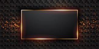 Fondo oscuro de lujo texturizado con una combinación de puntos brillantes Fondo de lujo con una forma rectangular Vector Eps10 stock de ilustración