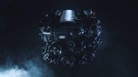 Fondo oscuro tecnológico moderno con un motor de combustión interna del coche almacen de video