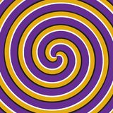 Fondo ottico di illusione di moto Doppia superficie gialla porpora di spirale Immagine Stock