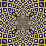 Fondo ottico di illusione di moto I quadrati blu volano a parte circolarmente dal centro su fondo giallo Fotografie Stock