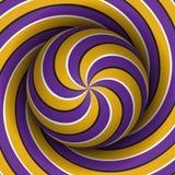 Fondo ottico di illusione di moto Sfera con un modello a spirale multiplo giallo porpora sul fondo dell'elica Immagine Stock Libera da Diritti