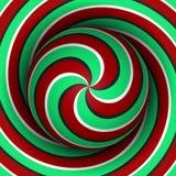 Fondo ottico di illusione di moto Sfera con un modello a spirale multiplo verde rosso sul fondo dell'elica Immagini Stock